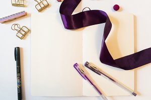 Studio Desk Flat Lays Purple Theme