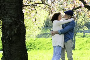 Senior couple hugging under the cherry blossom tree.