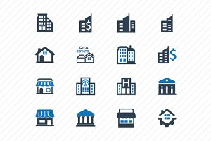 Building Icons- Blue Version