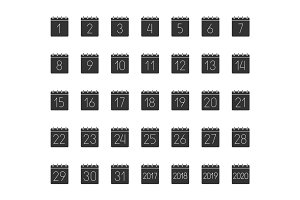 Month calendar glyph icons set
