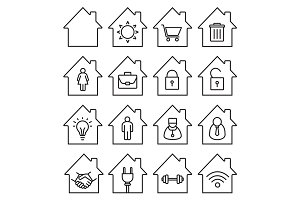 Houses linear icons set