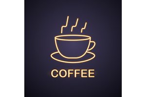 Steaming cup neon light icon
