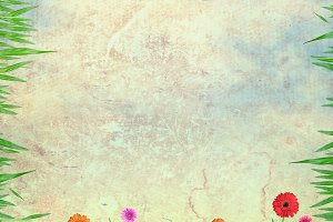 flowers and sky on paper texture