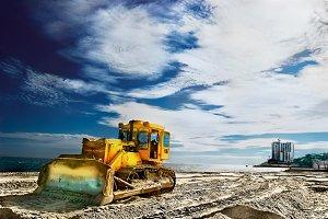 Tractor on a sandy beach