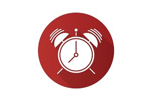 Ringing alarm clock flat design long shadow glyph icon