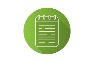 Notepad flat linear long shadow icon