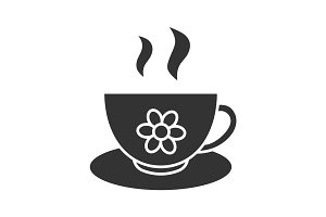 Herbal tea cup glyph icon