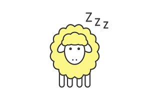 Sheep with zzz symbol color icon