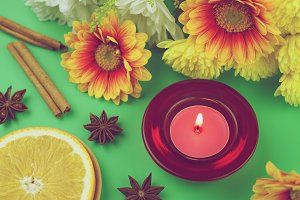 Candle and flowers - vintage photo