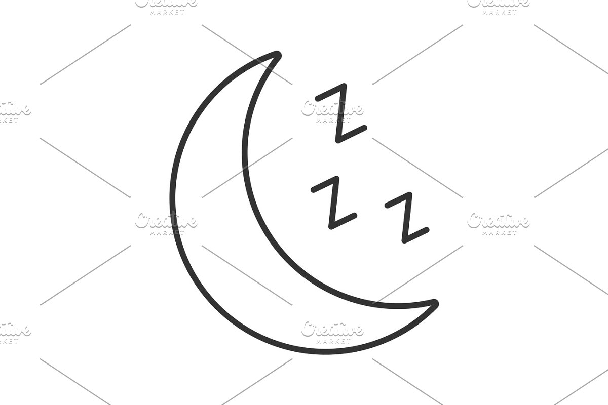 Moon with zzz symbol linear icon