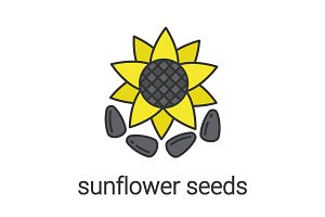 Sunflower seeds color icon