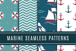 Nautical seamless patterns for kids