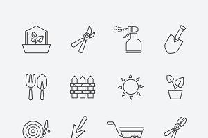 Gardening line icons