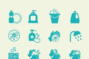 Hygiene and cleaning icons