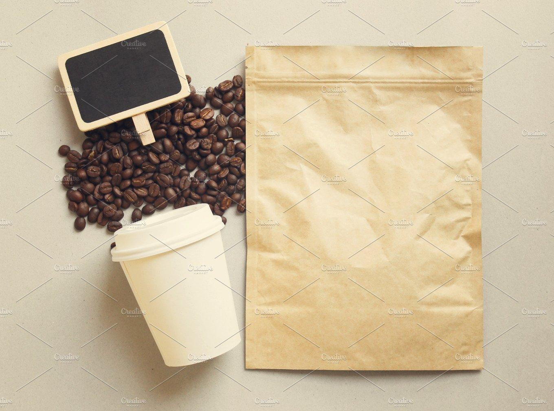 bag of coffee and blank blackboard food images creative market. Black Bedroom Furniture Sets. Home Design Ideas