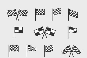 Checkered vector flags