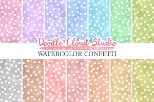 Watercolor Confetti digital paper