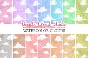 Watercolor Clouds digital paper