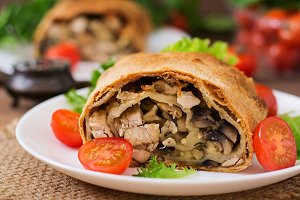 Homemade strudel with chicken