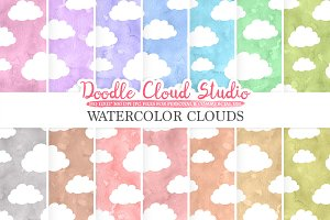Watercolor Cartoon Clouds paper