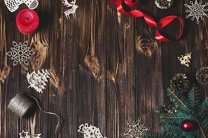Christmas background on wooden desk