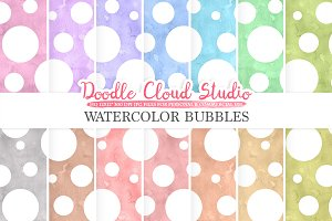 Watercolor Bubbles digital paper
