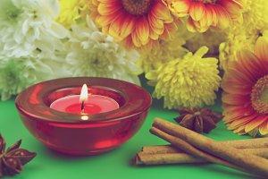 Romantic candle - vintage photo