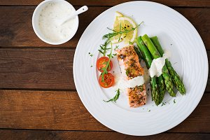 salmon garnished with asparagus