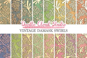 Vintage Damask Swirls digital paper