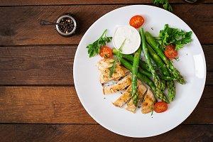 chicken garnished with asparagus