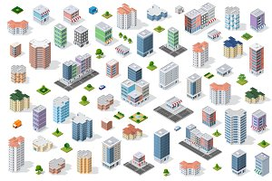 Set of isometric city houses