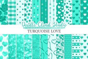 Turquoise Romantic digital paper