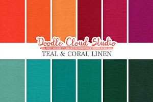 Teal & Coral Linen Fabric textures