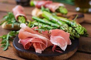 Toasts (sandwich) with asparagus