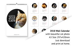 2018 Wall Calendar with cats.