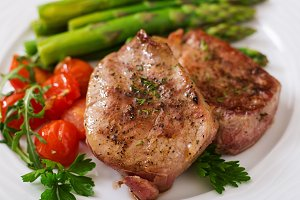 beef steak meat with asparagus
