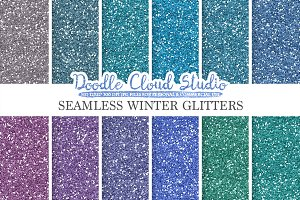 Seamless Winter Glitter paper