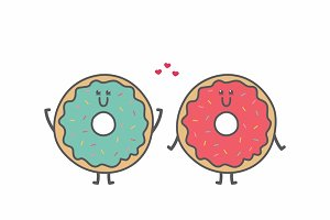 Donut Love Vector Illustration