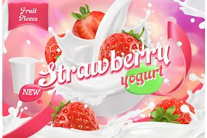 Strawberry yogurt. 3d vector