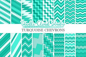 Turquoise Chevrons digital paper