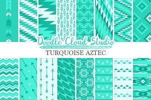 Turquoise Aztec digital paper
