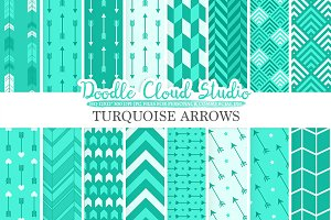 Turquoise Arrows digital paper
