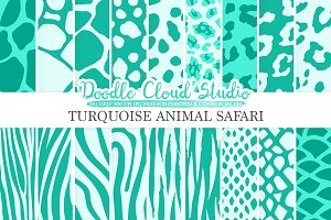 Turquoise Animal Safari paper