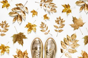 Golden leaves and stylish shoes