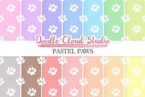 2 Sets of Pastel Paws digital paper