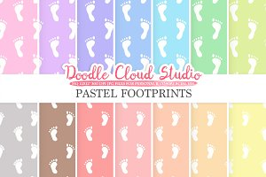 2 Sets of Pastel Footprints paper