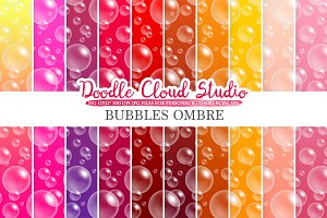 10 Ombre Soap Bubbles digital paper