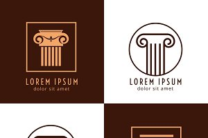 Ancient column logo vector set