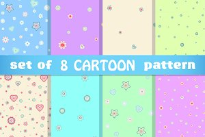 Set of spring flower cartoon pattern