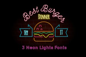 3 Neon Fonts + Illustration